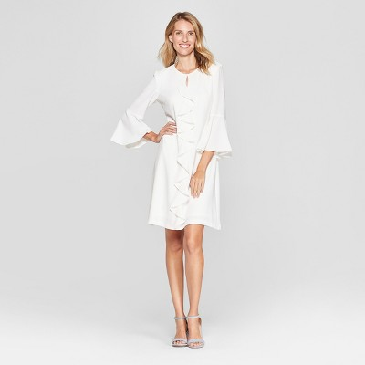 Women's Ruffle Front Bell Sleeve Dress - Melonie T - White