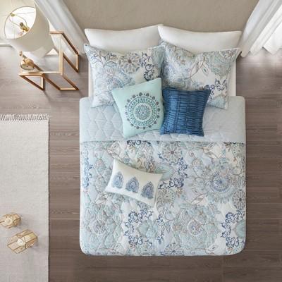 6pc Lian Cotton Printed Reversible Coverlet Set Blue