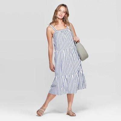 Women's Sleeveless  U-Neck Midi Tiered Dress - Universal Thread™ Blue