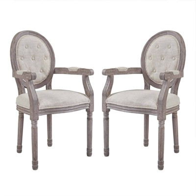 Set of 2 Arise Vintage French Upholstered Fabric Dining Armchair - Modway