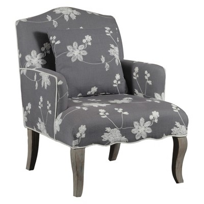 floral upholstered chair office ireland arm gray linon target