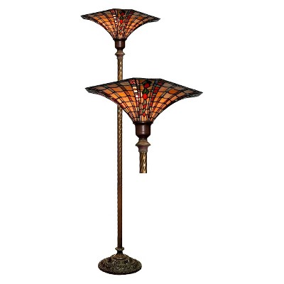 Large Tiffany-Style Torchiere Amber (Lamp Only)
