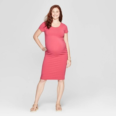 Maternity Short Sleeve Shirred T-Shirt Dress - Isabel Maternity by Ingrid & Isabel™