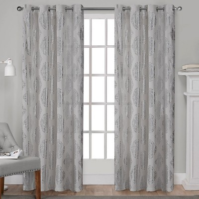 Augustus Metallic Light Filtering Window Curtain Panel Pair with Grommet Top - Exclusive Home