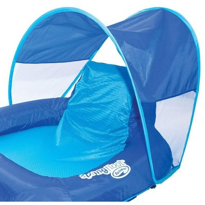 pool chair floats target chairs for porch swimways spring float recliner lounge w sun canopy blue 13022