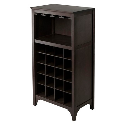 20 Bottle Glass Holder Wine Cabinet Wood/Coffee - Winsome