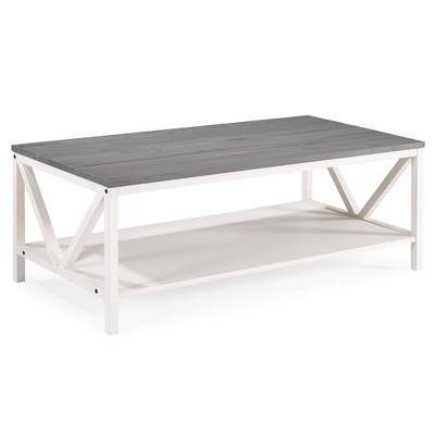 48 two tone distressed wood farmhouse coffee table gray white wash saracina home