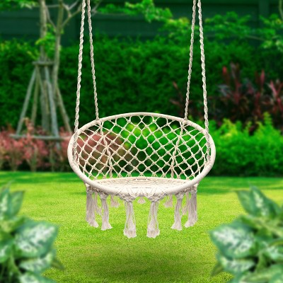 hanging chair rope pink nail salon chairs off white sorbus target