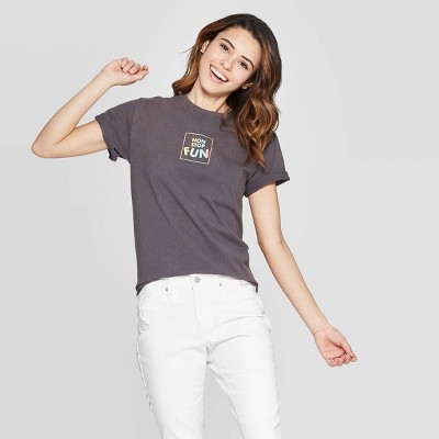 Women's Short Sleeve Non Stop Fun T-Shirt - Mighty Fine (Juniors') - Charcoal Wash
