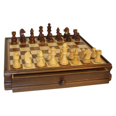 """WorldWise Imports 15"""" Walnut and Maple Drawer Chest Chess Set Game"""