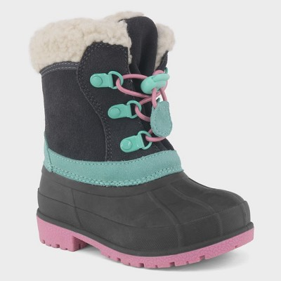Toddler Girls' Sherpa Trim Lining Toggle Winter Boots - Cat & Jack™ Gray