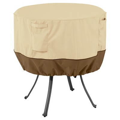 large round patio table and chairs chair cover rentals quad cities veranda light pebble classic accessories