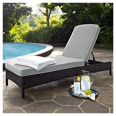 wicker chaise lounge chairs outdoor banquet hall chair covers for sale palm harbor in brown with gray cushions about this item