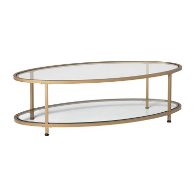 48 camber modern glass oval coffee table gold studio designs home