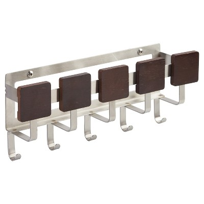 "InterDesign Formbu Stainless Steel Mail & Key Wall Mount Rack - Espresso/Brushed Stainless (11"")"