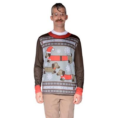 Men's Costume Ugly Christmas Sweater Wiener Dog Wonderland, Long Sleeve Tee