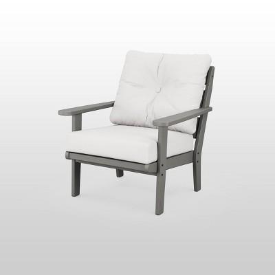 lakeside deep seating patio chair gray natural linen polywood