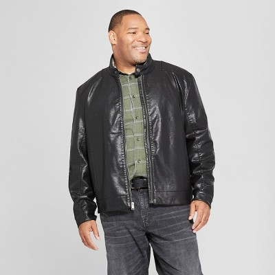 Men's Big & Tall Waxy Front Pocket Moto Jacket - Goodfellow & Co™ Brown