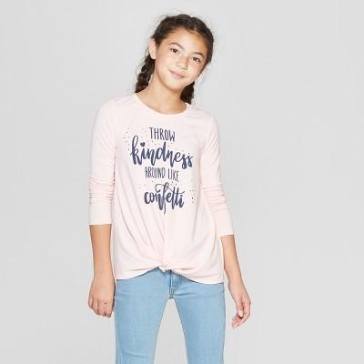 Girls' Twist Front Long Sleeve T-Shirt - art class™ Pink