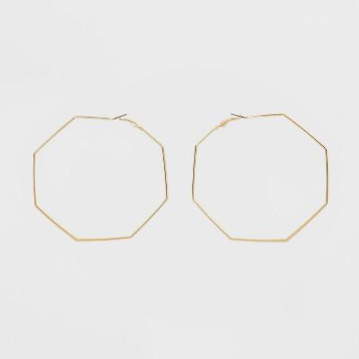 Open Octagon Hoop Earrings