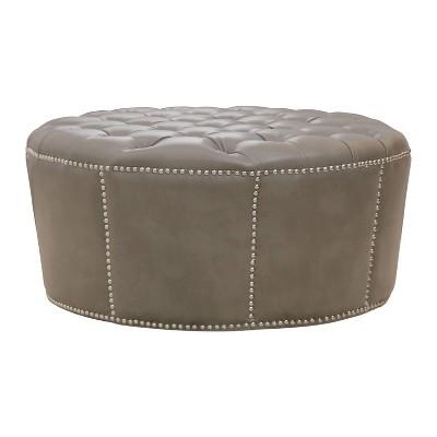 newport leather nailhead trim round ottoman gray abbyson living