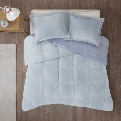 3pc Full/Queen Miles Reversible Frosted Print Comforter Set Blue