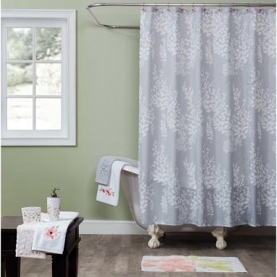 resting garden leaf shower curtain gray saturday knight ltd