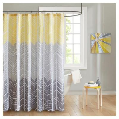 amanda herringbone shower curtain yellow gray