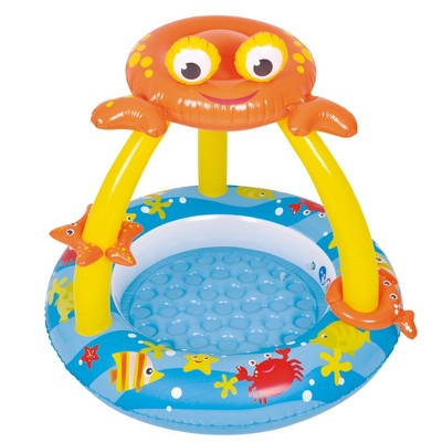 """Pool Central 39"""" Inflatable Baby Round Swimming Pool with Crab Canopy - Blue/Yellow"""