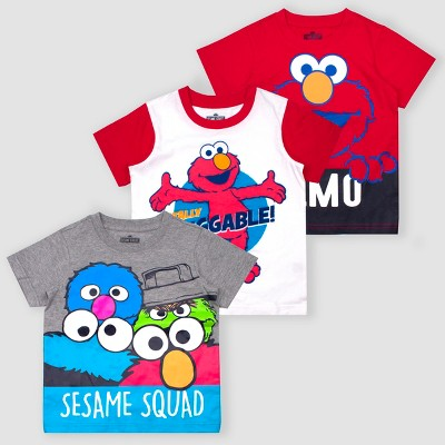 Toddler Boys' Sesame Street Elmo 3pk Short Sleeve T-Shirts - Red/White/Gray