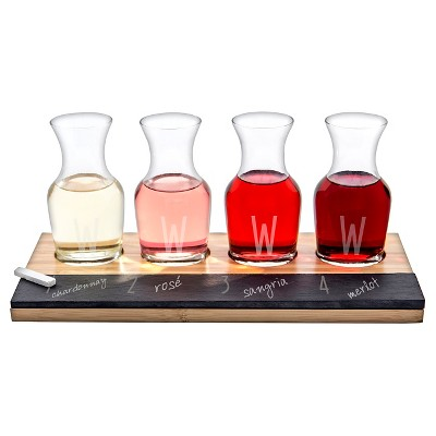 Cathy's Concepts® 4pc Monogram Bamboo & Slate Wine Tasting Flight