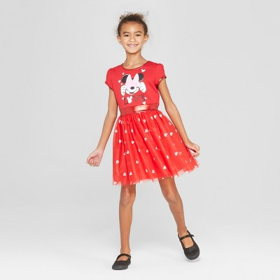 Girls' Disney Minnie Mouse Valentine's Day Dress - Red