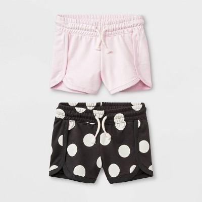 Toddler Girls' 2pk Trouser Shorts - Cat & Jack™ Pink/Black