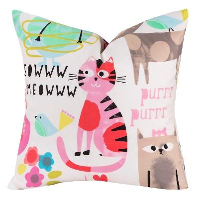 crayola purrty cat throw pillow pink 17 x17
