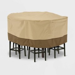 Patio Table And Chair Set Cover Wheelchair Game Veranda Tall Round Light Beige M Classic Accessories