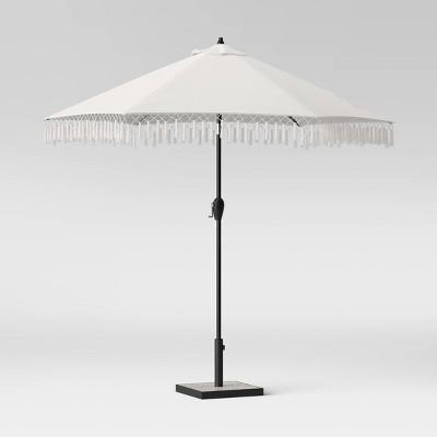 9 round fringed patio umbrella duraseason fabric linen black pole opalhouse