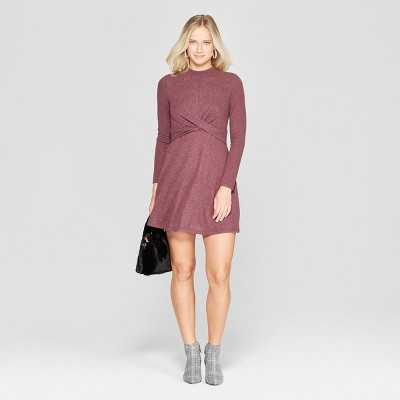 Women's Long Sleeve Twist Front Hacci Knit Dress - Xhilaration™