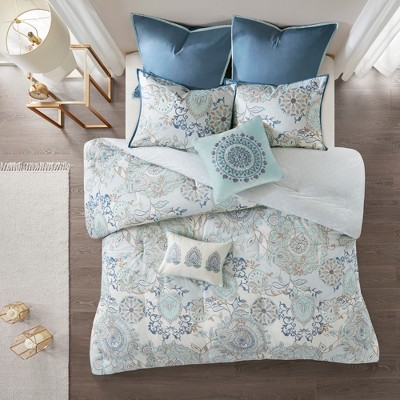 8pc California King Lian Cotton Printed Reversible Comforter Set Blue