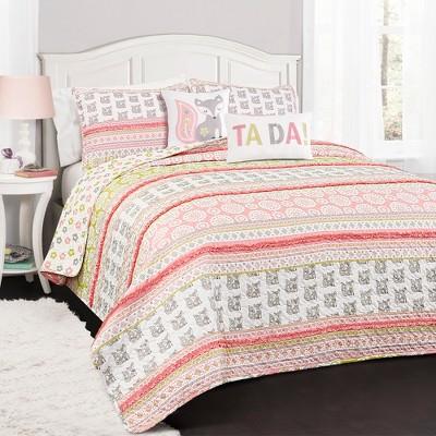 Pink & Gray Fox Ruffle Stripe Quilt Set - Lush Decor