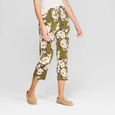 Women's Floral Print Beautifully Soft Crop Pajama Pants - Stars Above™ Green