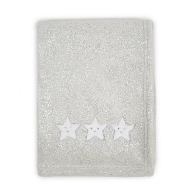 Tadpoles Star Applique Plush Baby Blanket - Silver