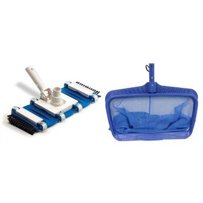 Swimline Hydrotools 8040 Deep Bag Leaf Rake Swimming Pool Net + 8165 Flexible Vacuum Head