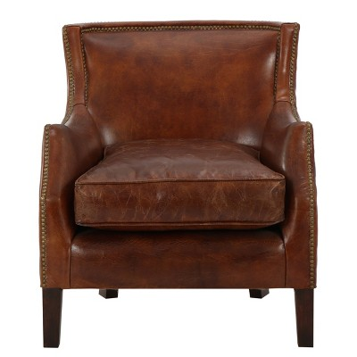 chair with light miguel brown leather recliner club njord vintage christopher knight home