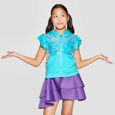 Girls' Nickelodeon JoJo's Closet Sequin Zip-Up Sweatshirt - Turquoise
