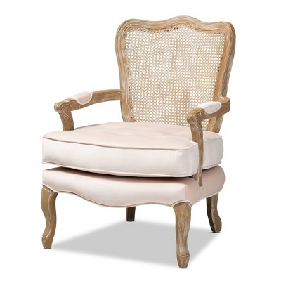 Vallea Traditional Velvet Wood Armchair - Baxton Studio