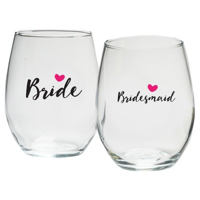 4ct Kate Aspen Bride And Bridesmaids Pink Heart 15 Oz. Stemless Wine Glass