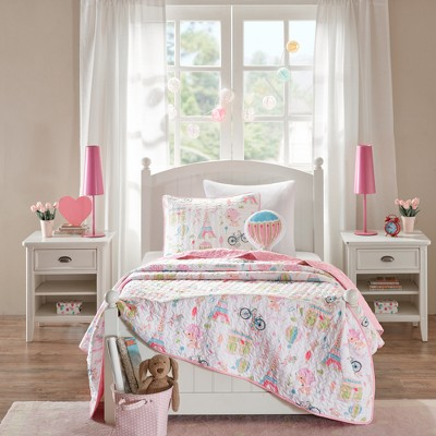 Poodles in Paris Pink Coverlet Set