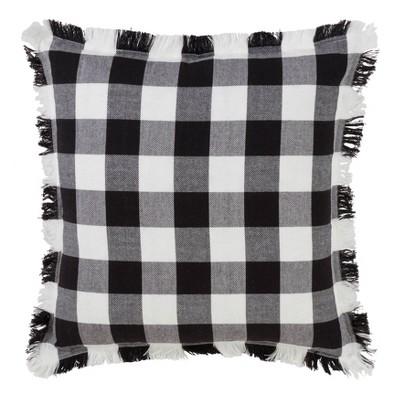 20 x20 fringed buffalo plaid down filled throw pillow black saro lifestyle