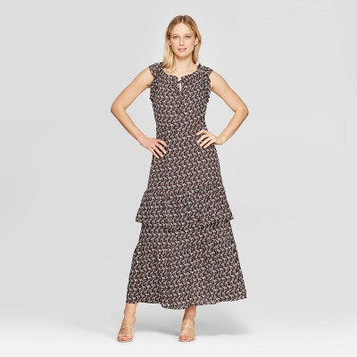 Women's Floral Print Cap Sleeve Boat Neck Ruffle Tiered Maxi Dress - Who What Wear™ Black