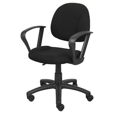 posture deluxe chair z mid century with loop arms black boss office products target